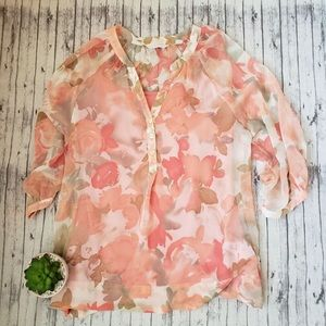 New York & Company • Sheer Floral 3/4 Blouse